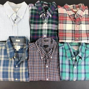 Lot of 6 Mens J. Crew Button Front Shirts L